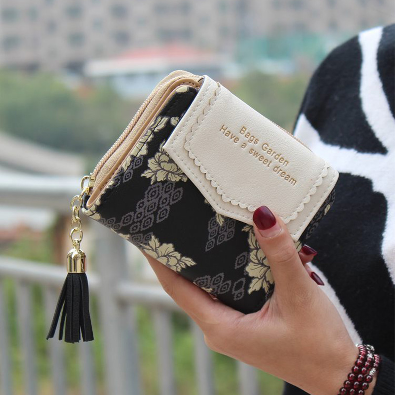 YOUYOU MOUSE Fashion Women PU Leather Wallets Flower Design Coin Purse Ladies Clutch Floral Money Bag Business Card Purse youyou mouse high quality women long wallets fashion pu leather money wallet 6 colors lady clutch coin purse card