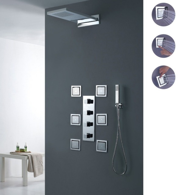 Modern Bathroom Wall Mounted Waterfall Rain Shower System with ...