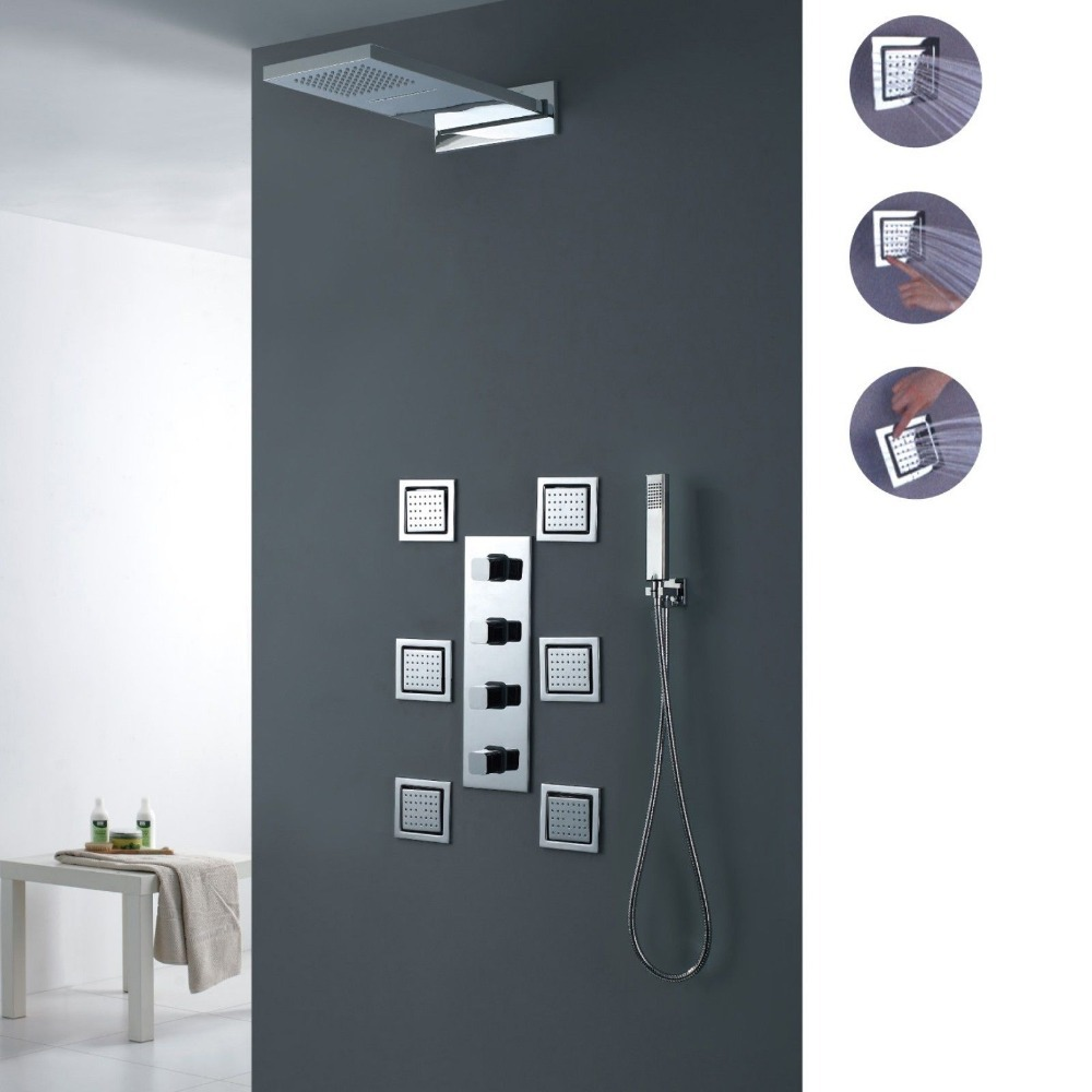 Modern Bathroom Wall Mounted Waterfall Rain Shower System With Body  Sprayswith Six Body Jets