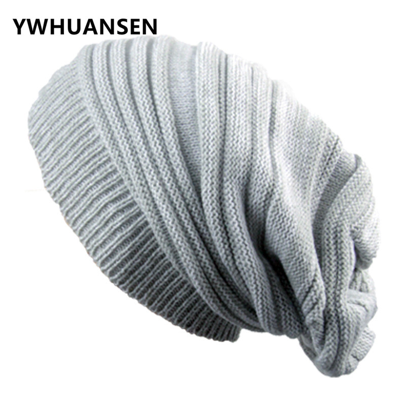 YWHUANSEN Winter Knitted Hat For Men Double Color Warm Beanies Unisex Gorro Feminino Inverno Crochet Cap Skullies Fold Baggy Cap jamaican rasta hat bob marley hat jameican hat tams fancy dress costumes crochet rasta beanies gorro bob marley cap rh 18