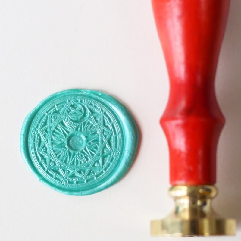 ws075 Cardcaptor Sakura Power wax seal stamp, Gold Plated Sun Magic wedding logo free shipping cosplay anime cardcaptor sakura card captor sakura cute wings shoulder bag costume