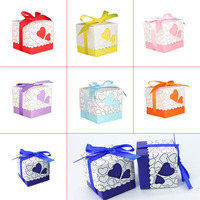 50pcs Love Heart Small Laser Cut Gift Candy Boxes Wedding Party Favor Candy Bags With Ribbon