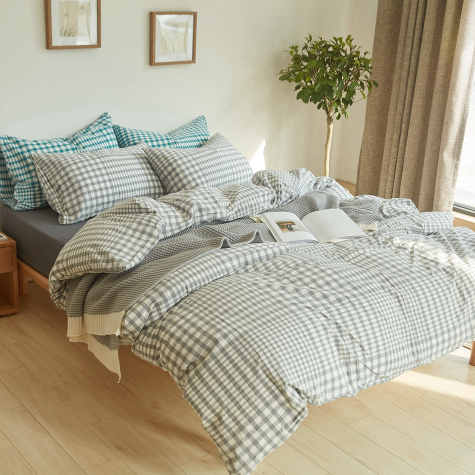 Bed sheet set with quilt - Plaid Duvet Cover Set Light Grey Quilt Cover Bed Sheets 100 Washed Cotton Bed Linens For Summer Spring Adults Brief Bedding Set