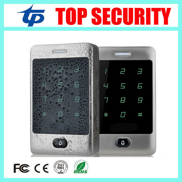 125KHZ proximity RFID card door access control panel 8000 users touch key IP65 waterproof ID card reader access control system 5pcs lot free shipping outdoor 125khz em id weigand 26 proximity access control rfid card reader with two led lights