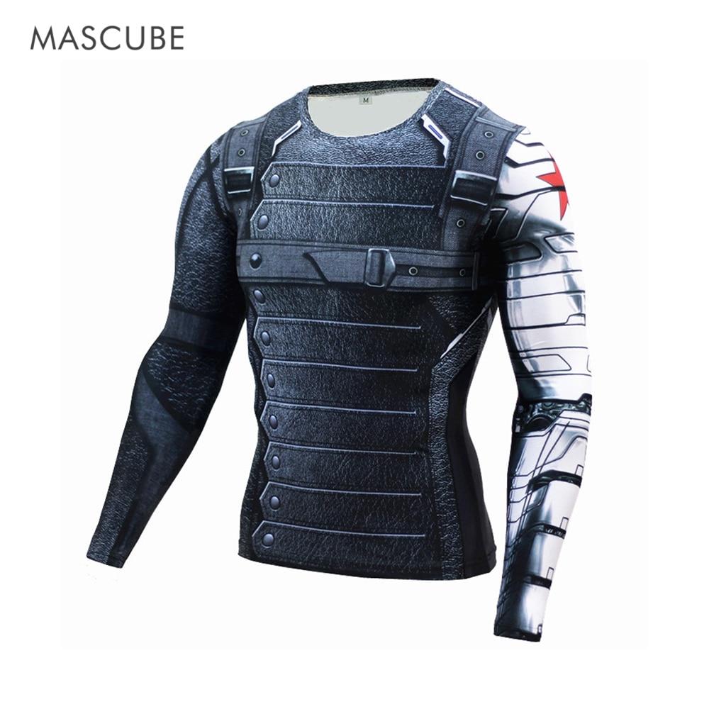 Masculino 2017 homens esportes musculação camisa de compressão inverno soldado 3d impressão super-herói manga longa t camisa fitness respirável