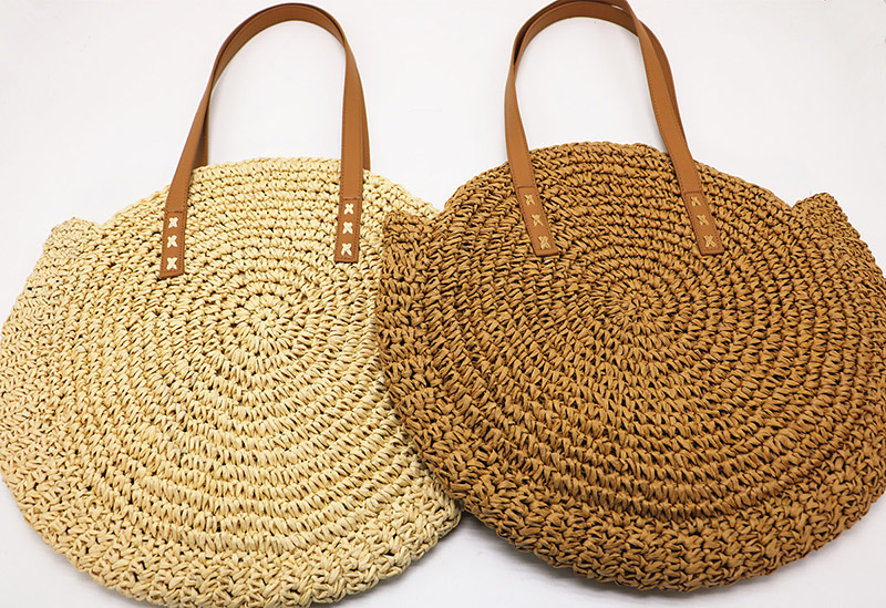 REREKAXI Hand-woven Round Woman's Shoulder Bag Handbag Bohemian Summer Straw Beach Bag Travel Shopping Female Tote Wicker Bags 8