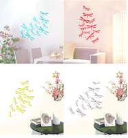 12Pcs 3D Dragonfly Home Party PVC Wall Stickers DIY Decor