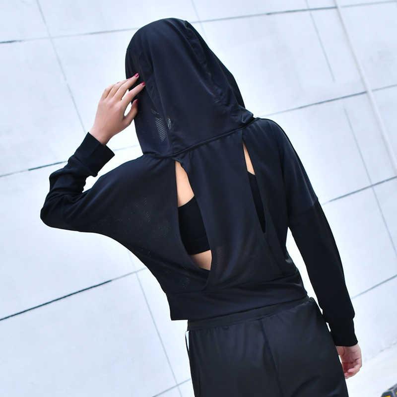 Спортивная Сетчатая футболка с длинным рукавом и капюшоном для фитнеса, йоги, укороченный Топ для женщин, спортивная толстовка из Джерси, куртка для бега, спортивная одежда