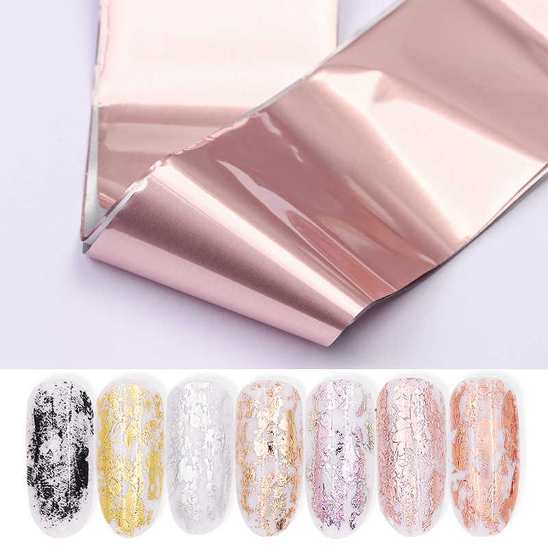 120*4 เซนติเมตรเลเซอร์ Matte Rose Gold Nail Transfer Foils ตกแต่งเล็บ Wraps Decals DIY ความงามเล็บสติกเกอร์อุปกรณ์เสริม
