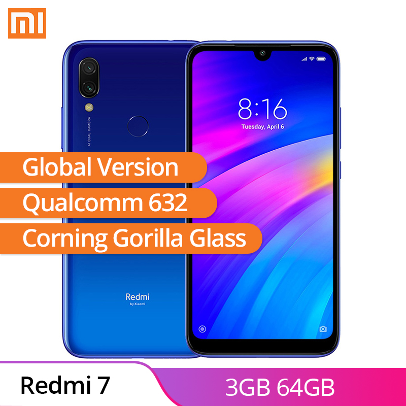 Global Versão Xiaomi Redmi 7 3GB 64GB Android 9.0 Qualcomm 632 Núcleo octa Tela WaterDrop 3900mAh Móvel telefone