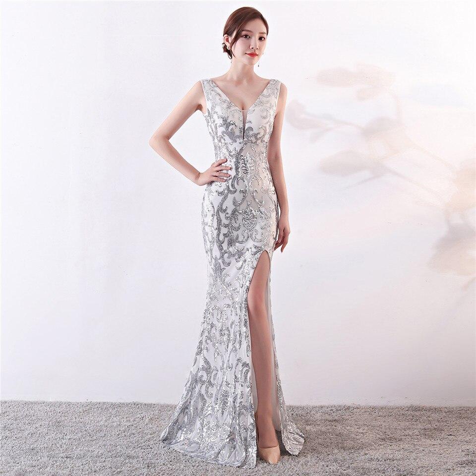 C'est Yiiya robes de soirée paillettes col en v fermeture éclair dos sirène robes de soirée Royal dos nu parole longueur trompette robes de bal C181 - 2