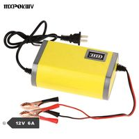 MXPOKWV Auto carregador de carro 12 V 6A carregador de chumbo ácido carregador inteligente levou carregador de bateria de carro 12 v 6a carregador motocicleta fonte de alimentação 12 v 6A