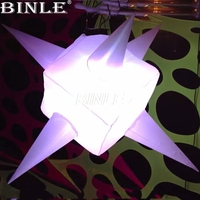 2pcs/1lot 1mDia nice RGB LED lighting inflatable cube balloon inflatable star with horns for party decoration