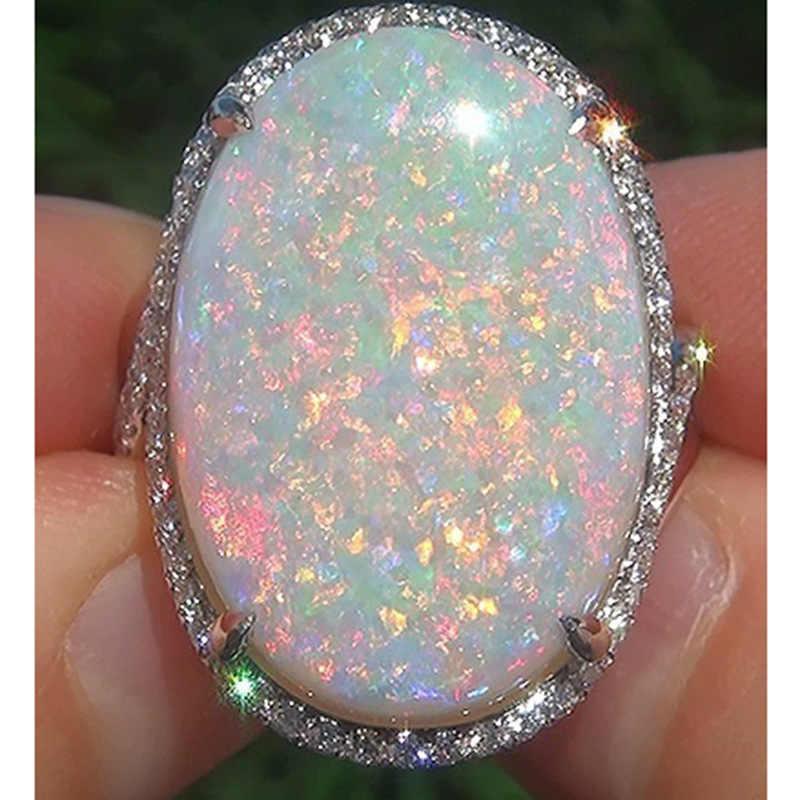 HOMOD антикварная, серебряная, овальная большая опал кольцо Бохо ювелирные изделия лунный камень, драгоценные камни кольцо обручальные ювелирные изделия