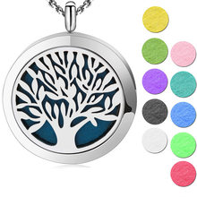 Tree of Life Aromatherapy Essential Oil 316 Stainless Steel Perfume Diffuser Locket Necklace with chain and felt pads(China)