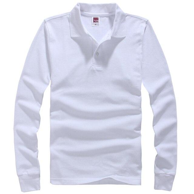 Горячие Продажа 2016 Мода Марка рубашки поло Сплошной Цвет с Длинными Рукавами Рубашки Мужчин Хлопка Рубашки поло Случайные Рубашки Европейский Размер 3XL