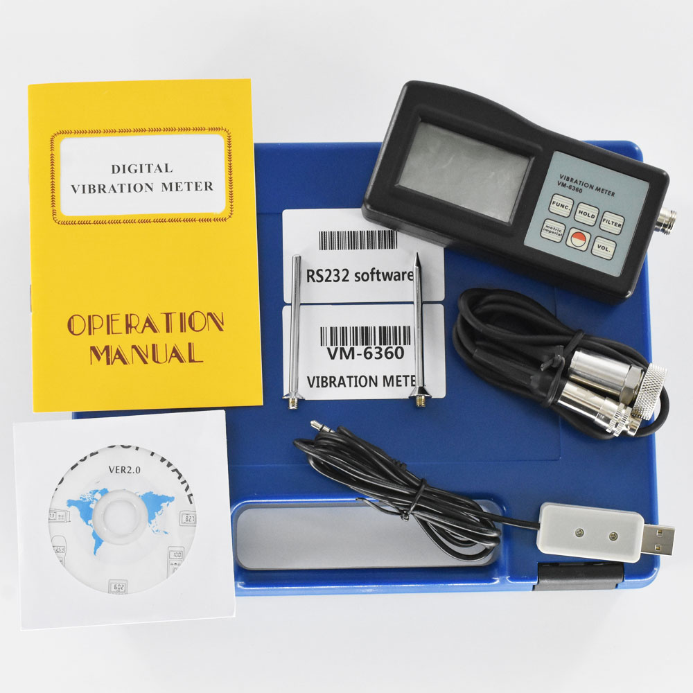 VM-6360 Digital Vibration Tester Meter Analyzer With CD Software And Cable 0.01-400mm/s True RMS Vibrometer