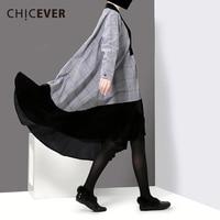 CHICEVER Winter Black Women Dress Patchwork Velvet Stand Loose Big Size Long Dresses Female Clothes Fashion