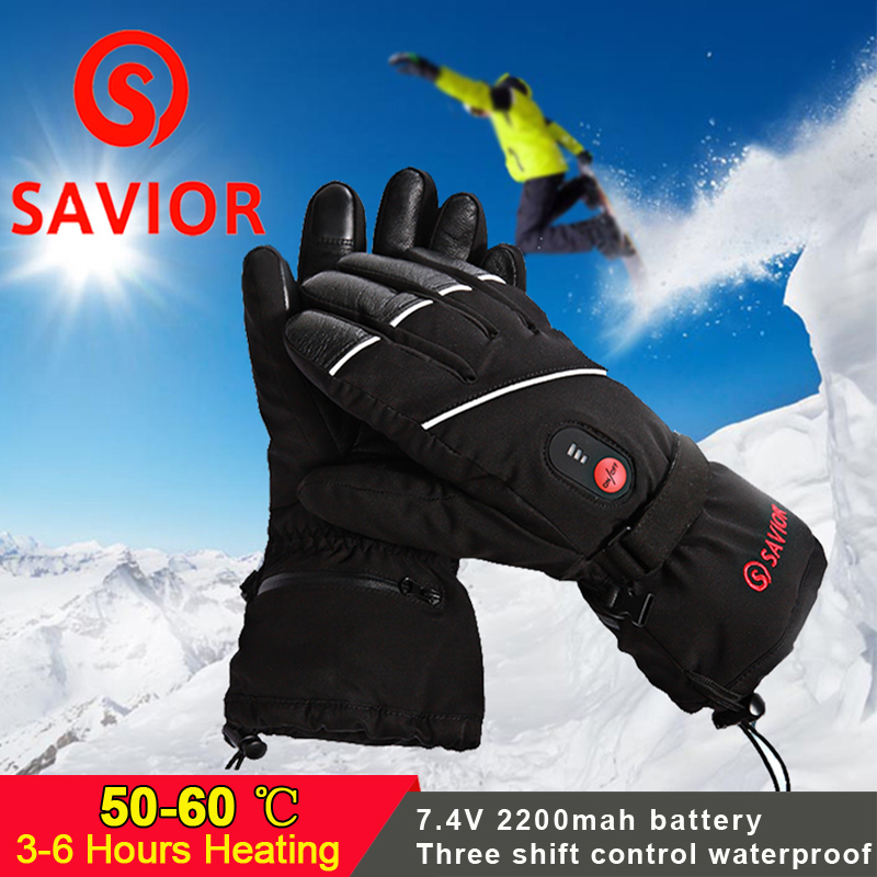 SAVIOR 7.4V 3 levels Electric Rechargeable heated Gloves Waterproof Cycling Skiing Gloves heated Winter thick outdoor Ski gloves