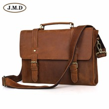 Vintage Brown Color JMD Men Genuine Leather Briefcase Portfolio Business Bag Handbag Messenger Bag #6076B