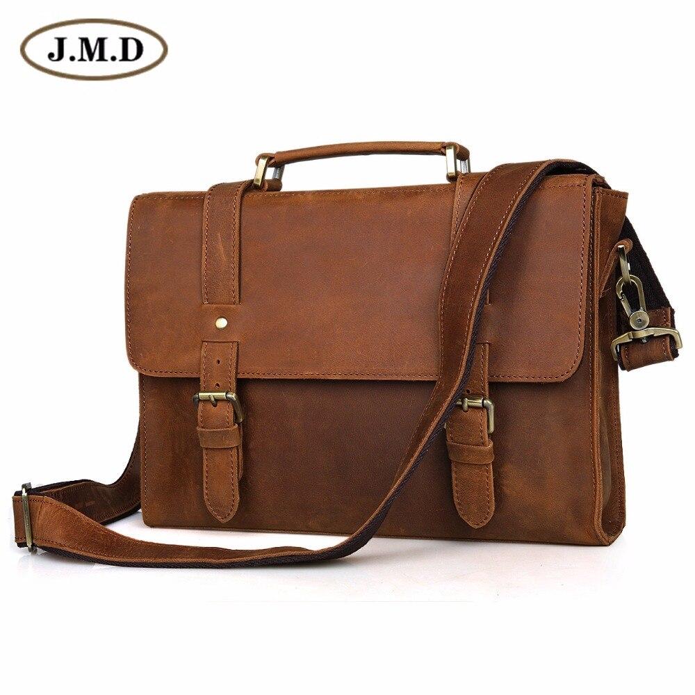 Vintage Brown Color JMD Men Genuine Leather Briefcase Portfolio Business Bag Handbag Messenger Bag #6076B