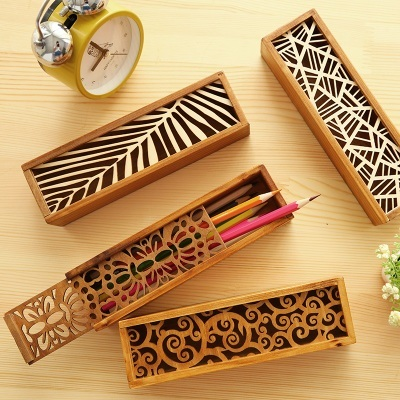 Korean Stationery Hollowed out Vintage Wood Desk Organizer Pen Holder Square Pencil Case Box  on AliExpress