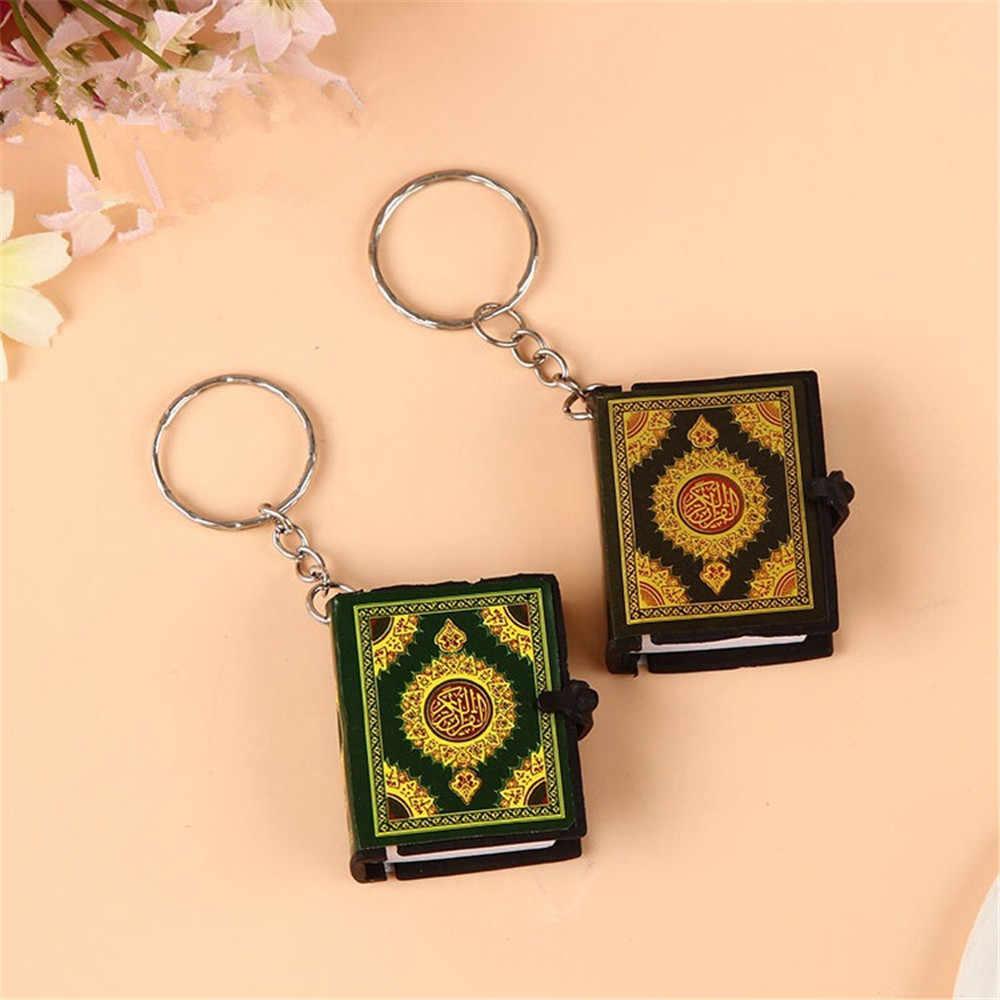 4 色ミニアラビアコーランイスラム女性男性アッラーリアル紙ペンダントキーリングファッション宗教ジュエリー A346 読むことができます