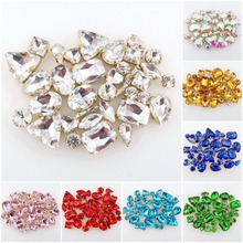 hot deal buy 50pcs/bag 11 shapes mix 26 colors gold claw setting nice glass crystal sew on rhinestone wedding dress shoes bags diy trim