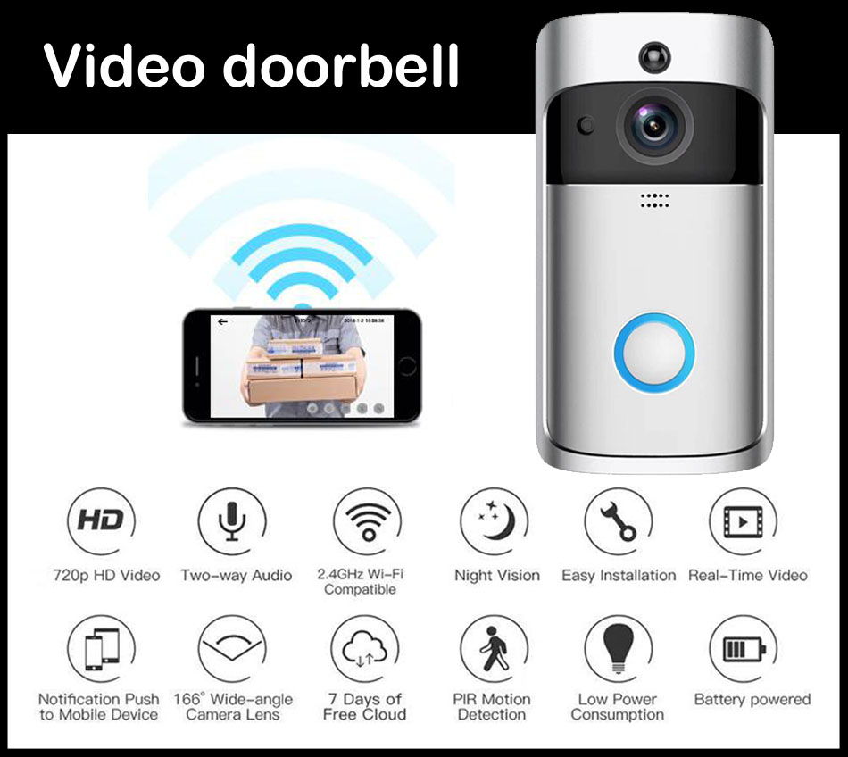 Yobang sécurité APP contrôle WiFi sans fil vidéo sonnette interphone visuel porte carillon téléphone bidirectionnel Audio batterie puissance IP caméra