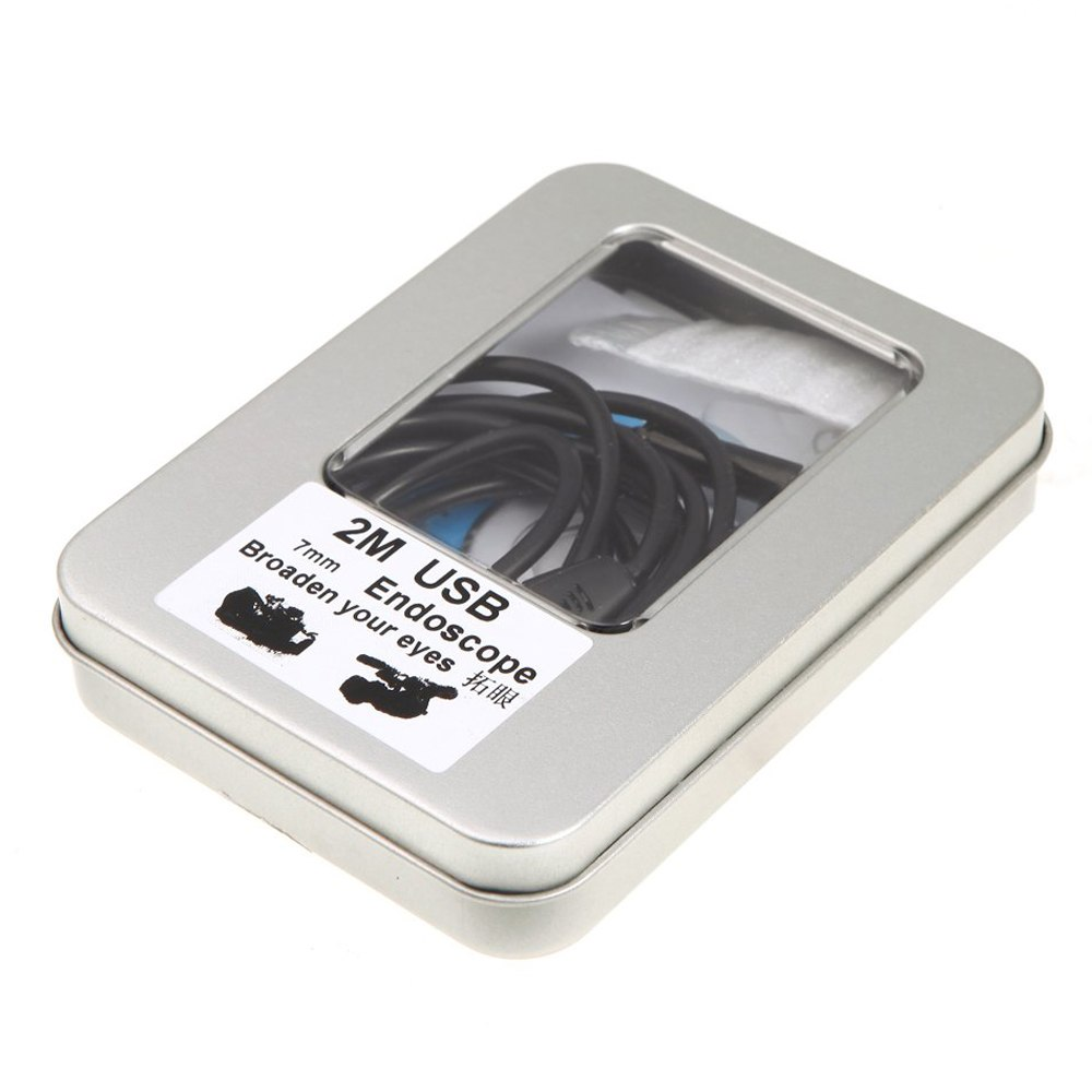 2 шт. из MOOL Водонепроницаемый 7 мм USB инспекции бороскоп эндоскопа Змея Область с кнопкой снимка 6 шт. светодио дный 2 м трубки