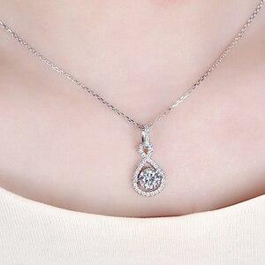 Image 5 - Transgems 14 k ouro branco 585 6.5mm 1 quilates f cor corações e setas moissanite halo pingente colar para casamento feminino
