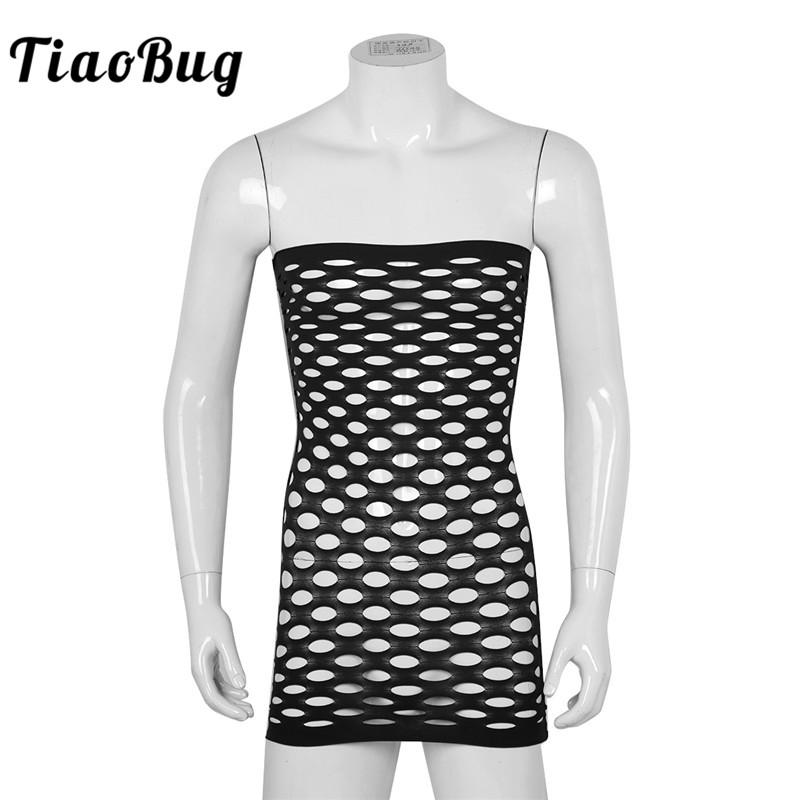 TiaoBug Men Adult Underwear Skinny Sissy Lingerie Stretchy Hollow Tights Tops Pantyhose Hot Sexy Bodystockings Costume Nightwear