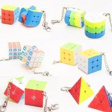 Мини брелок Брелок Волшебный куб кубик рубика трехгранника цилиндр Скорость куб головоломка снять стресс Развивающие игрушки для Для детей