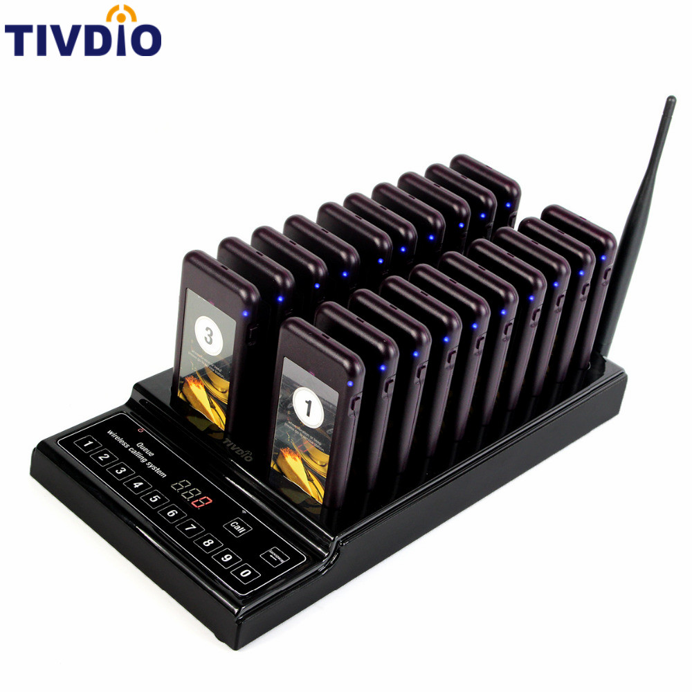TIVDIO 20 Wireless Coaster Pager Restaurant Paging Queuing System Call Button Pager 999 Channel Restaurants Equipments F9402A 2 receivers 60 buzzers wireless restaurant buzzer caller table call calling button waiter pager system