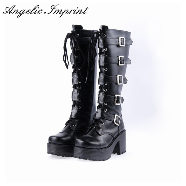 627031155ced Japanese Harajuku Platform Chunky Heel Cosplay Boots Women Black Leather  Buckle Straps Lace Up Gothic Punk High Boots