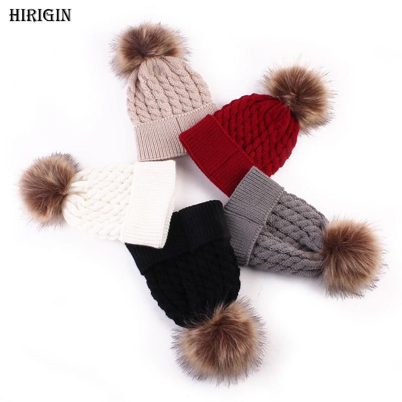 HIRIGIN Newborn Baby  Girls Boys Winter Warmer Wool Fur Kids Cap Pompom Ball Knitted Hat Beanies