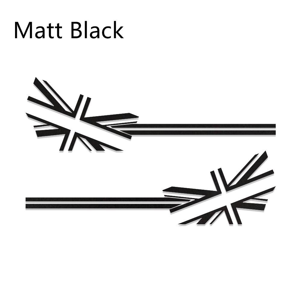 2 шт. автомобиль Стикеры флаг Стиль сбоку нашивки наклейки для Mini Cooper R56 R57 R58 R50 R52 R53 R59 R61 R60 F60 F55 F56 F54 аксессуары - Название цвета: Matt Black