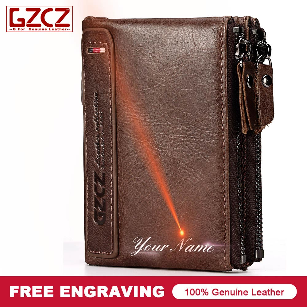 GZCZ Wallets Male Original Leather Purse Card-Holder Custom Classic Masculina Short Men