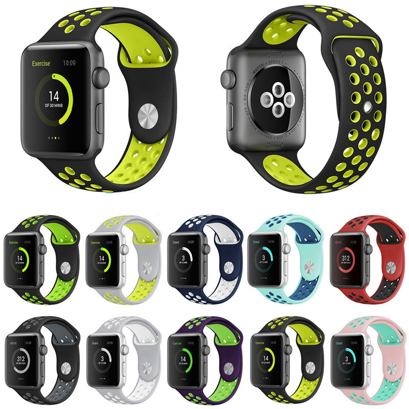 BRAND sport Silicone band strap for apple watch nike 42mm 38mm bracelet wrist band watch watchband For iwatch 3/2/1 Accessories 6 colors luxury genuine leather watchband for apple watch sport iwatch 38mm 42mm watch wrist strap bracelect replacement