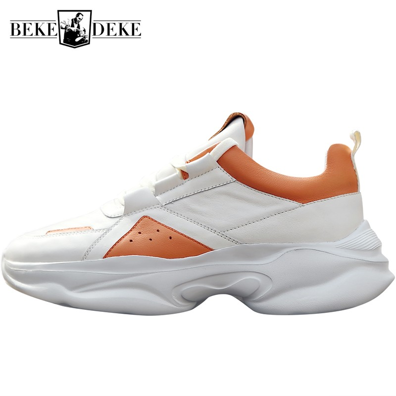 Genuine Leather Chunky Platform Lace Up Sneakers Men Summer Jogging Breathable Shoes Height Increasing Street Style TrainersGenuine Leather Chunky Platform Lace Up Sneakers Men Summer Jogging Breathable Shoes Height Increasing Street Style Trainers