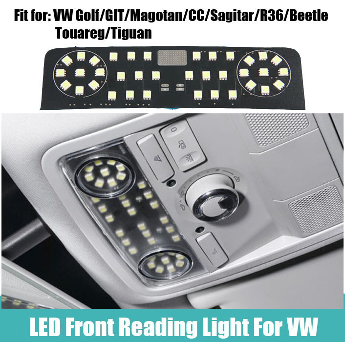 1 pcs Car LED Reading dome map Light canbus error free for Volkswagen VW Golf/GIT/Magotan/CC/Sagitar/R36/Beetle/Touareg/Tiguan car luggage trunk abs hook for volkswagen cc new magotan octavia new sagitar black