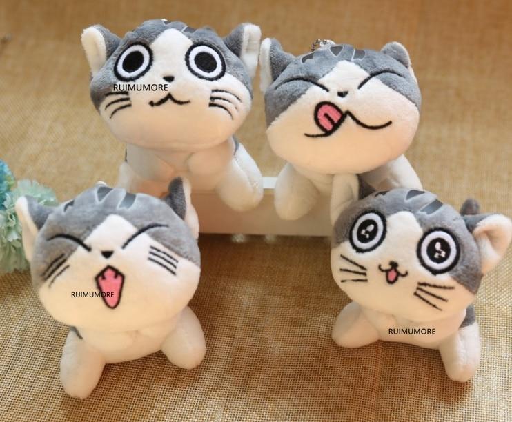 4designs, 9CM approx, cat Plush Stuffed dolls toys ; Key ring chain Plush cat(China)