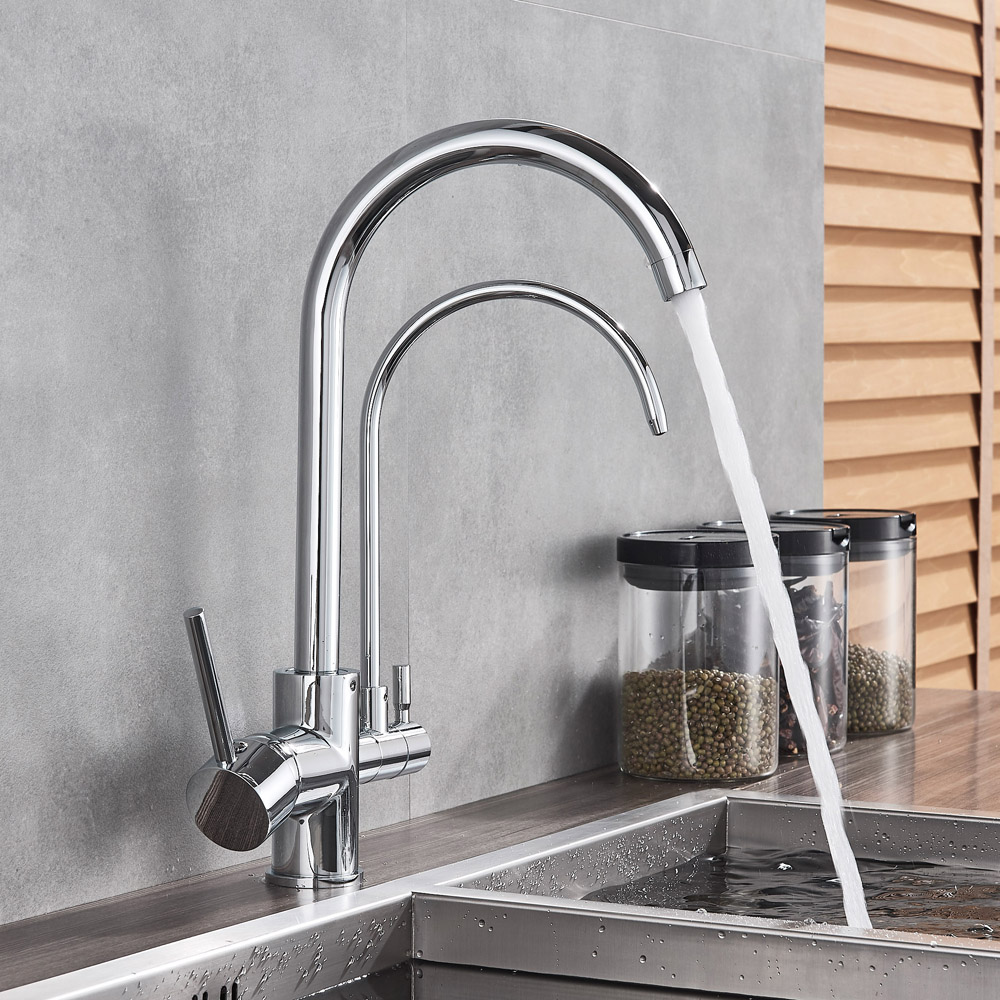Grifo de cocina dual, cromo y colores, giratorios.