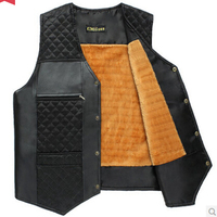 Free shipping 2016 spring autumn new hot sale middle-aged men dad leather stitching cotton velvet big yards vest cheap wholesale