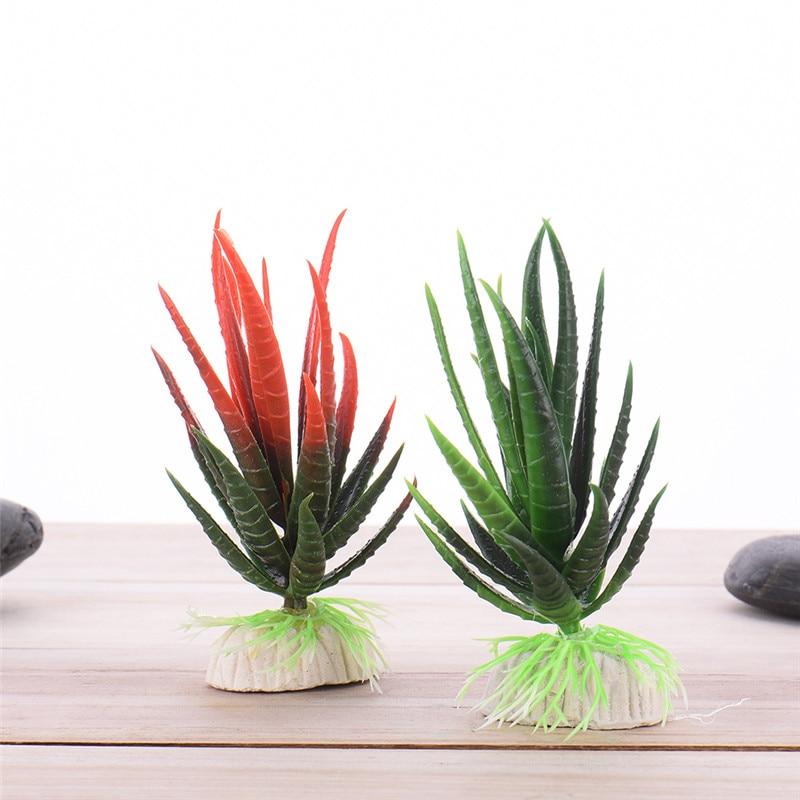 Plastic Simulation of Aloe Vera Decoration Ornamental Plants Decoration for Aquarium Red Green 1pcs