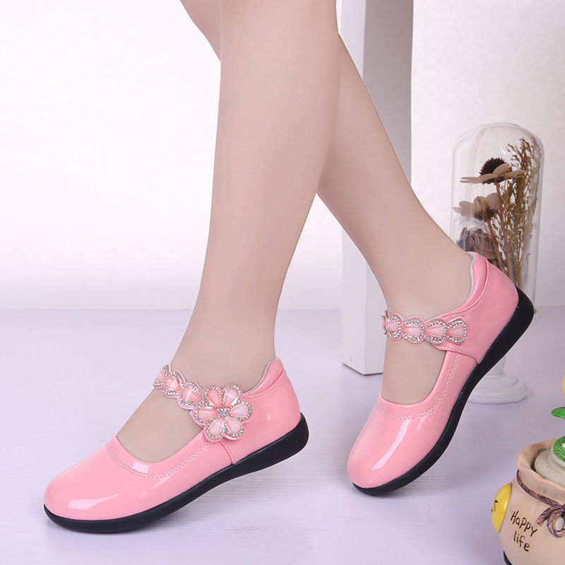 Hot Spring Rhinestone Big Girls Shoes With Flower Fashion Princess Slip-on Children Flat Shoes For Girls Shoes Size 26-38