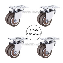4PCS Double wheels casters,size 2inch/50mm super mute universal wheels,bear 55kg/pcs,For bookcase drawer flower racks JF1672