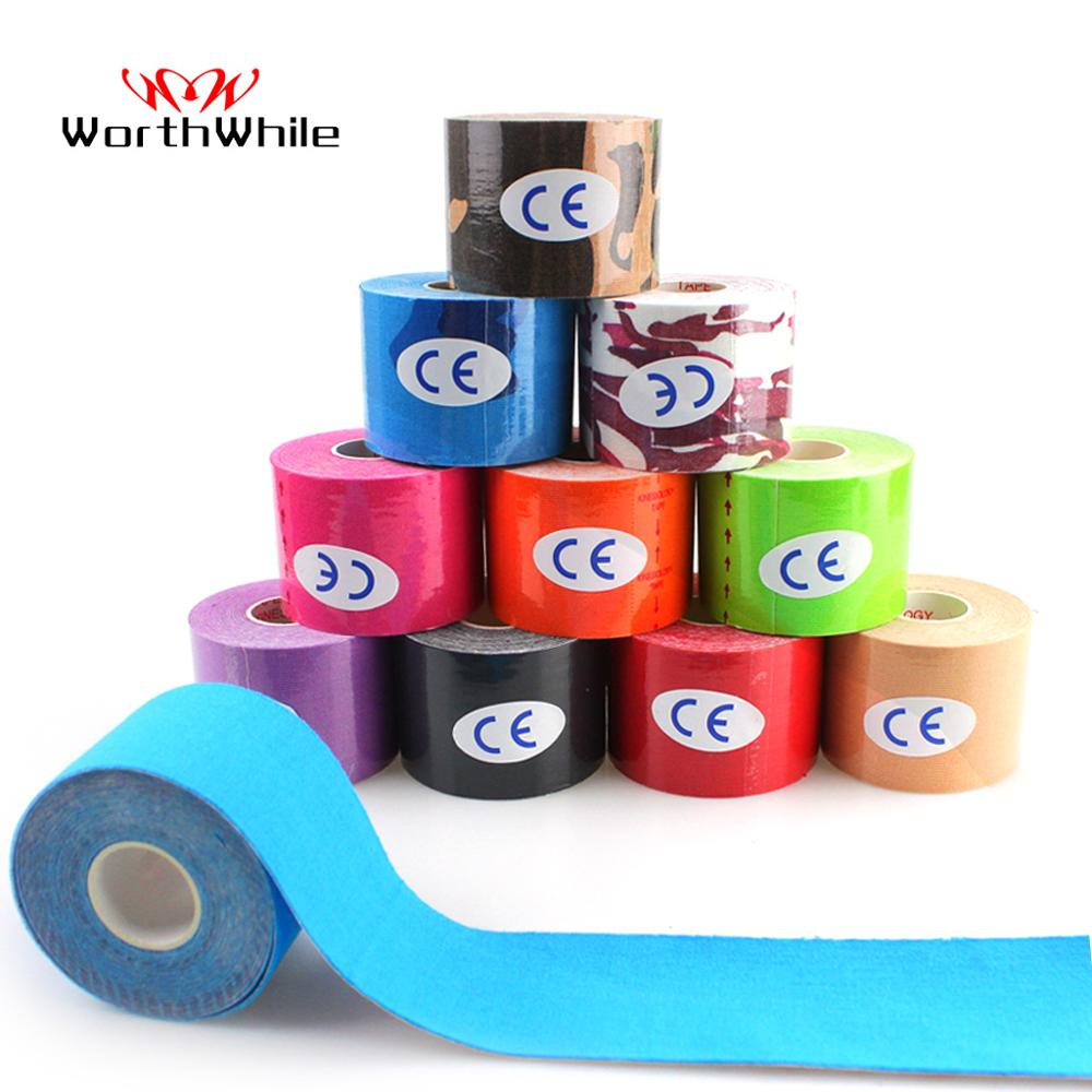 WorthWhile 2 Size Kinesiology Tape Athletic Recovery Elastic Tape Muscle Pain Relief Knee Pads Support For Gym Fitness Bandage