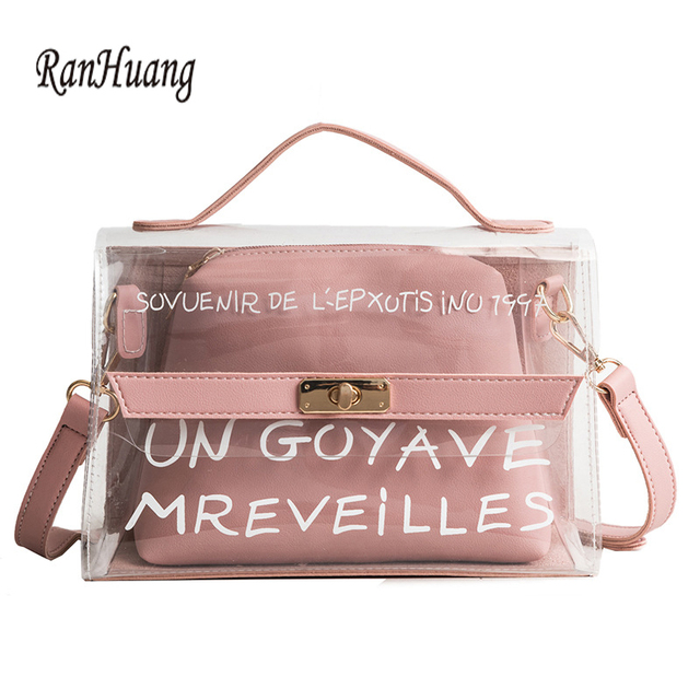 RanHuang Summer Women Transparent Bag New 2018 Candy Color Letter Handbags  Ladies Beach Bag Fashion Handbags 9632c6163e359