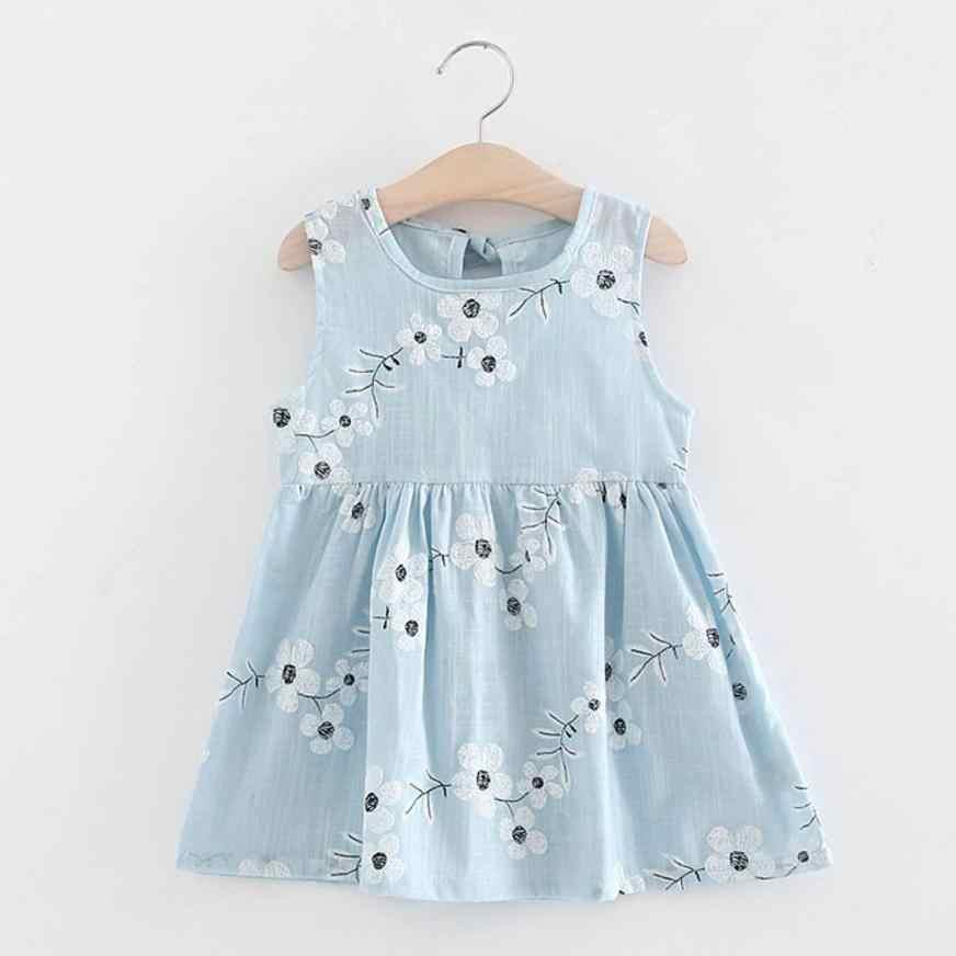 Bebê Crianças Meninas Sem Mangas de Uma Peça Vestido de 15 de Impressão Bowknot Tutu Roupas de Verão